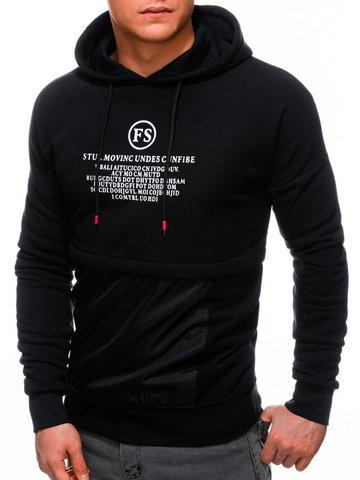 Bluza męska z kapturem 1244B - czarna - 3XL