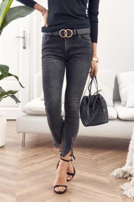 Spodnie jeansowe push up z ekspresami czarne 5232