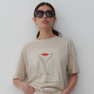 Reserved - T-shirt z bawełny organicznej - Kremowy