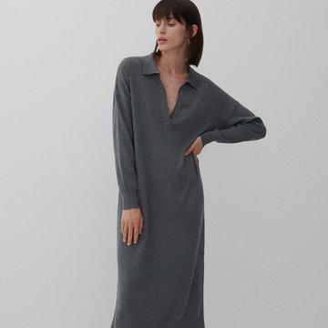 Reserved - Dzianinowa sukienka z kołnierzykiem polo - Szary
