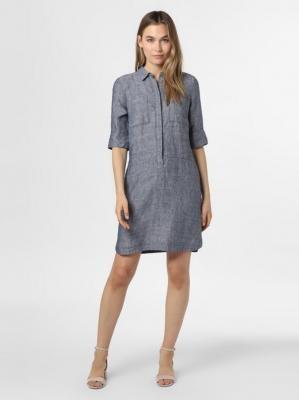 Opus - Damska sukienka lniana – Willmar Linen, niebieski