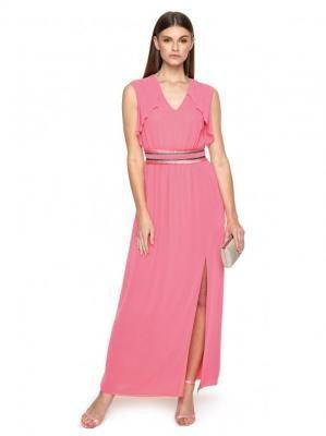 Różowa sukienka maxi z ozdobną talią L`AF IZADORA
