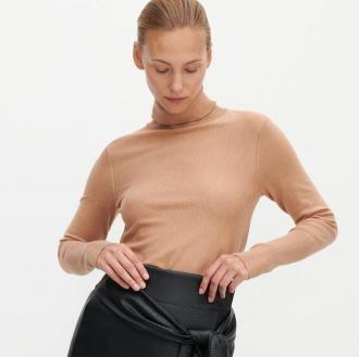 Reserved - Sweter z golfem - Beżowy