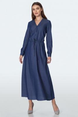 Jeansowa Długa Sukienka z Dekoltem V z Guzikami