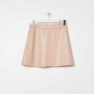 Sinsay - Spódnica mini z imitacji skóry - Beżowy