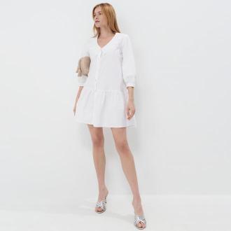 Mohito - Koszulowa sukienka z bawełny - Biały