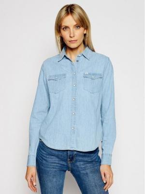 Lee Koszula jeansowa Western L45SZSNJ Niebieski Regular Fit