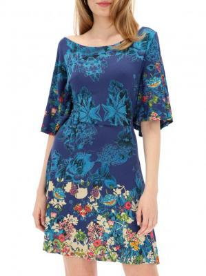Niebieska sukienka z odkrytymi plecami Desigual BRENDA