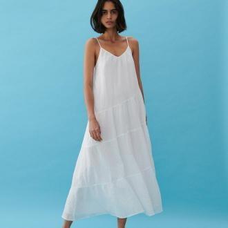 Reserved - Sukienka ze strukturalnej tkaniny - Biały