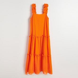 Reserved - Sukienka maxi z kreszowanej tkaniny - Pomarańczowy