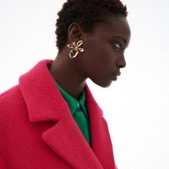 Reserved - Wełniany płaszcz - Różowy