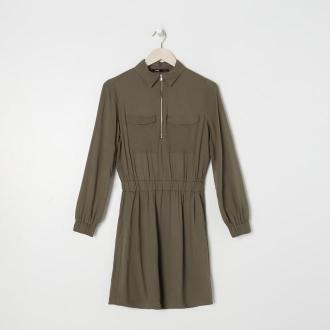 Sinsay - Sukienka z kołnierzykiem - Khaki