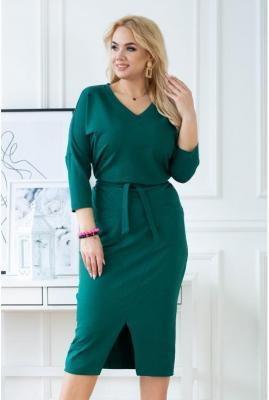 Butelkowa dresowa ołówkowa sukienka plus size - ROSMARY