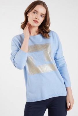 Sweter z połyskującym panelem