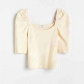Reserved - Dzianinowa bluzka z bufiastymi rękawami - Żółty