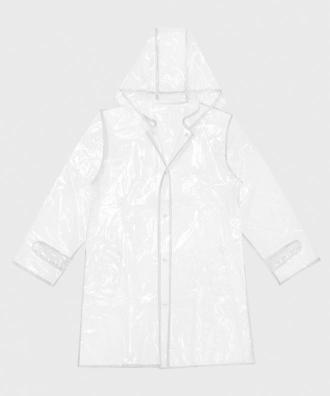 Biały płaszcz przeciwdeszczowy