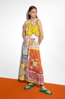 Sukienka maxi ze wzorem patchwork