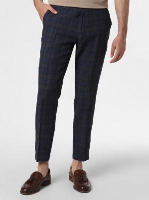 DENIM by Nils Sundström - Męskie spodnie od garnituru modułowego z lnu – Collins, niebieski