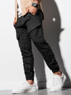 Spodnie męskie joggery P925 - czarne - XXL