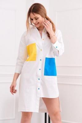 Asymetryczna długa koszula biała FG503
