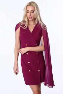 Sukienka z szyfonową peleryną fioletowa G5173