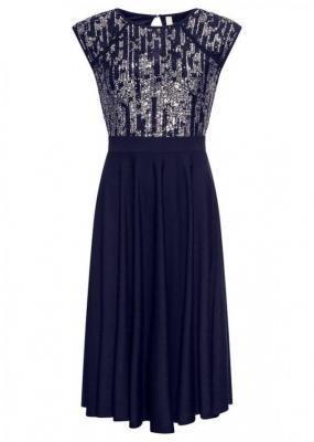 Sukienka z cekinami bonprix ciemnoniebiesko-srebrny