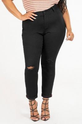 KRISTEN BLACK modne jeansy plus size z dziurami : size - 50/52