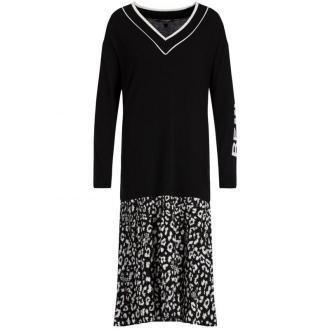 My Twin Sukienka dzianinowa 192MP3052 Czarny Oversize