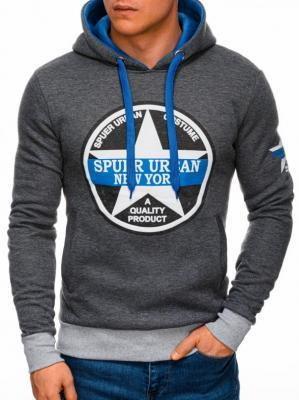 Bluza męska z kapturem 1260B - grafitowa - XXL