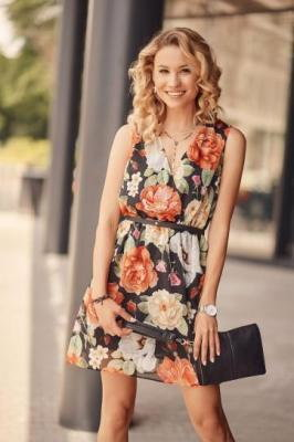 Elegancka sukienka letnia z paskiem czarna PR3199