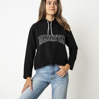Czarna damska bluza z napisem - Odzież