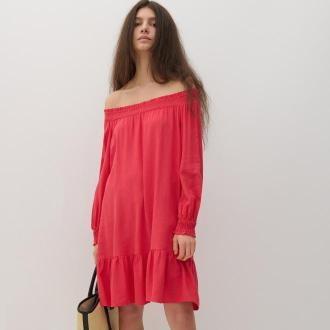 Reserved - Sukienka z dodatkiem lnu - Czerwony
