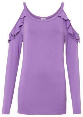 Shirt off-shoulder z przyjaznej dla środowiska wiskozy bonprix głęboki bez