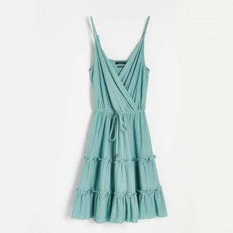 Reserved - Sukienka z kopertowym dekoltem - Niebieski