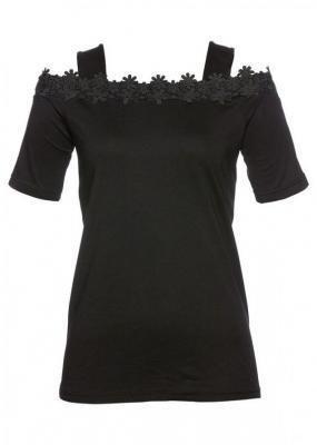 Shirt z wycięciami na ramionach bonprix czarny