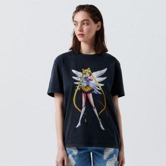 Cropp - Koszulka z nadrukiem Czarodziejka z Księżyca - Szary