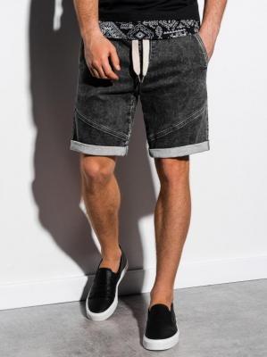 Krótkie spodenki męskie jeansowe W219 - czarne - XL