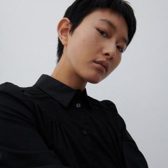 Reserved - Bluzka z bawełny organicznej - Czarny