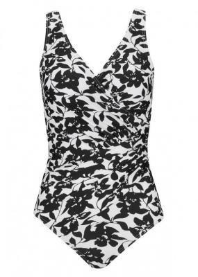 Kostium kąpielowy shape Tall Level 1 bonprix biało-czarny w kwiaty