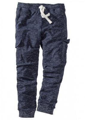 Spodnie sportowe z kieszeniami z boku nogawki bonprix ciemnoniebieski melanż