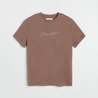 Reserved - T-shirt z haftowanym napisem - Brązowy