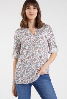 Koszulowa bluzka w kwiatki