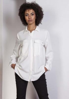 Ecru Koszula Oversize z Kieszeniami