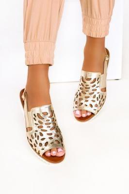 Złote sandały ażurowe płaskie polska skóra Casu 3021-0