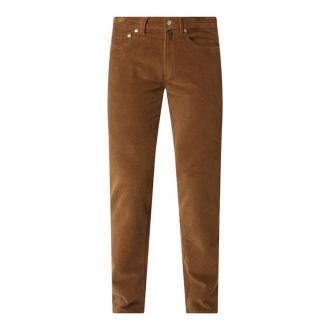 Spodnie sztruksowe o kroju modern fit z dodatkiem streczu model 'Lyon'