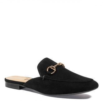Eleganckie czarne zamszowe klapki z zakrytymi palcami 20B