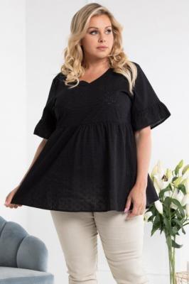 Bluzka ażurowa bawełniana letnia odcinana pod biustem MATARA czarna