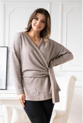 Beżowy sweter z kopertowym dekoltem ze srebrną nitką - keira xl (44-46)