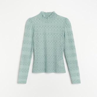 Reserved - Koronkowa bluzka ze stójką - Zielony