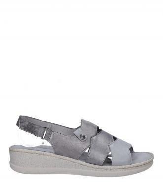 Szare sandały na koturnie z odkrytymi palcami